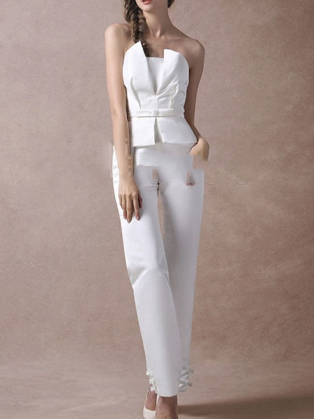 Jumpsuits Wedding Dresses V Neck Floor Length Satin Sleeveless Simple Modern_3