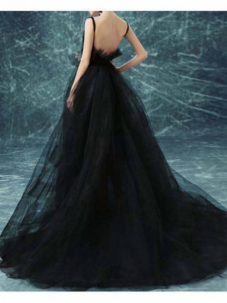 A-Line Wedding Dresses V Neck Sweep \ Brush Train Chiffon Tulle Sleeveless Formal Plus Size Black_3