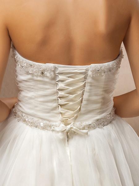 Ball Gown Wedding Dresses Strapless Floor Length Tulle Sleeveless_8