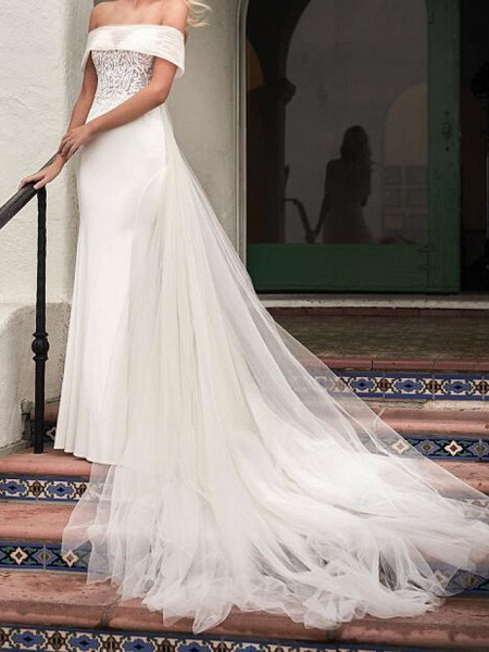Mermaid \ Trumpet Wedding Dresses Strapless Sweep \ Brush Train Tulle Sleeveless Country Plus Size_1