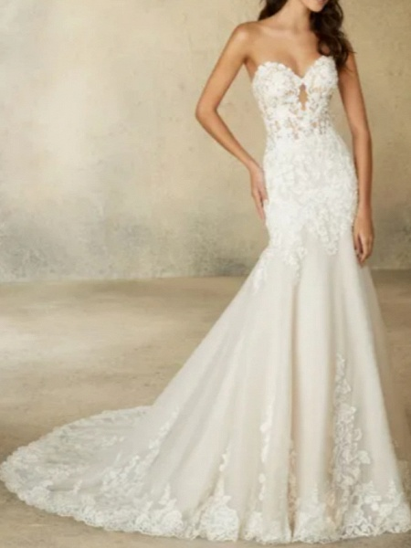A-Line Wedding Dresses Sweetheart Neckline Court Train Tulle Strapless Formal Plus Size_2