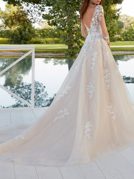 A-Line Wedding Dresses V Neck Sweep \ Brush Train Polyester Long Sleeve Country Plus Size_2