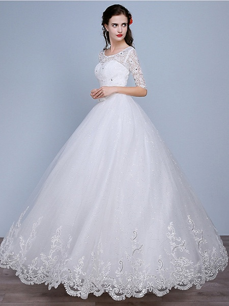 Ball Gown Wedding Dresses Scoop Neck Floor Length Lace Tulle Polyester Half Sleeve Romantic_2