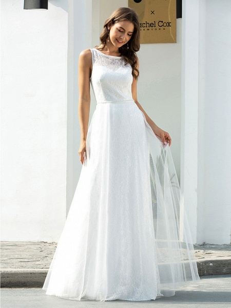 A-Line Wedding Dresses Jewel Neck Floor Length Lace Tulle Sleeveless Country Casual_3