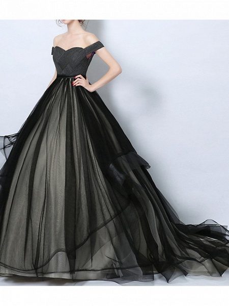 A-Line Wedding Dresses Off Shoulder Court Train Tulle Regular Straps Formal Black_1