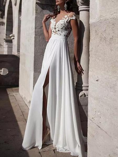 A-Line Wedding Dresses Jewel Neck Sweep \ Brush Train Lace Stretch Satin Cap Sleeve Casual Beach Boho Plus Size_2