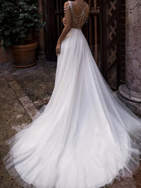 A-Line Wedding Dresses Jewel Neck Court Train Chiffon Lace Tulle Sleeveless Beach Boho Sexy See-Through_3
