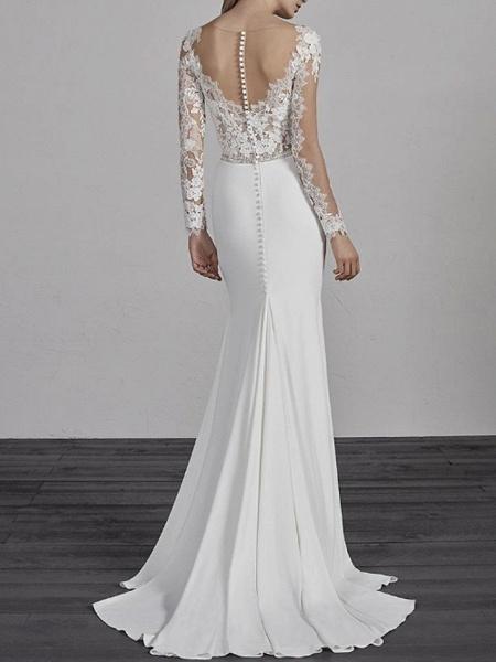 Mermaid \ Trumpet Wedding Dresses V Neck Sweep \ Brush Train Lace Charmeuse Long Sleeve Beautiful Back_2