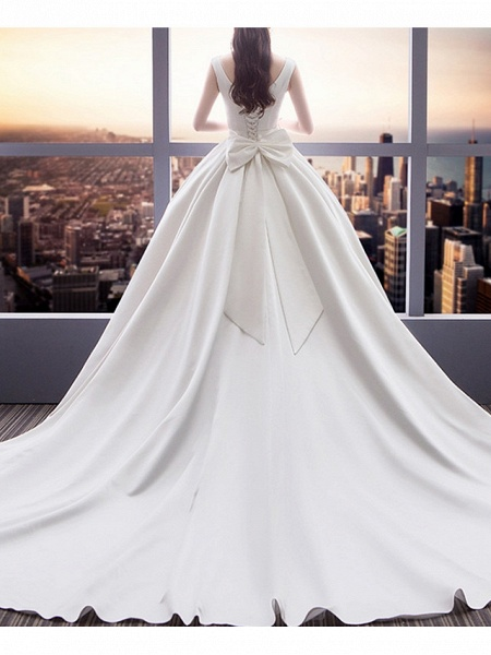 A-Line Wedding Dresses Square Neck Sweep \ Brush Train Satin Sleeveless Beach_2