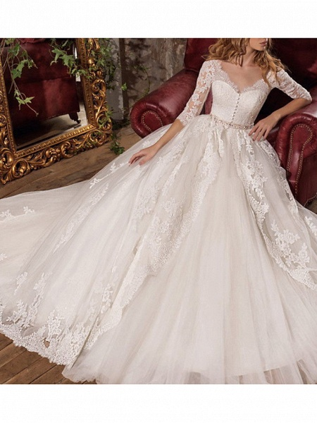 A-Line Wedding Dresses V Neck Sweep \ Brush Train Tulle 3\4 Length Sleeve Formal Plus Size Illusion Sleeve_3