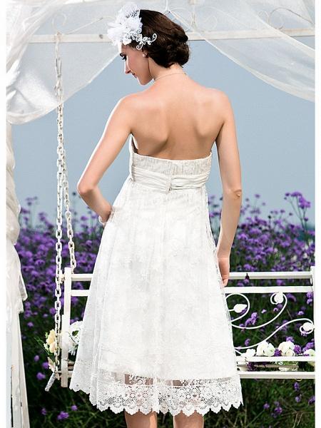 Princess A-Line Wedding Dresses Strapless Tea Length Lace Sleeveless Little White Dress_6