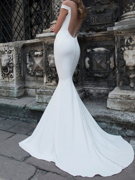Mermaid \ Trumpet Wedding Dresses Off Shoulder Sweep \ Brush Train Tulle Stretch Satin Jersey Short Sleeve Country Plus Size_1