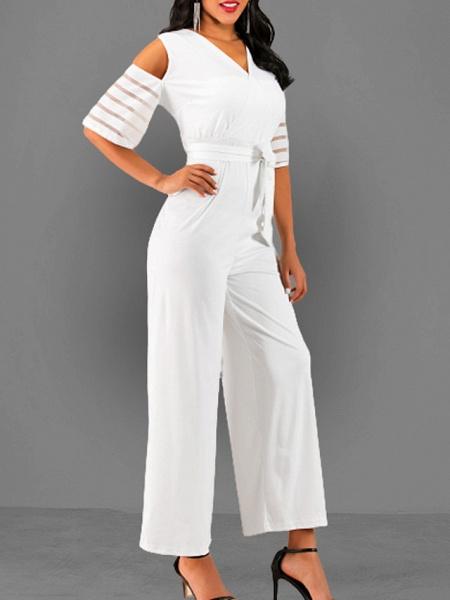 Women's V Neck Blue White Black Slim Jumpsuit_4