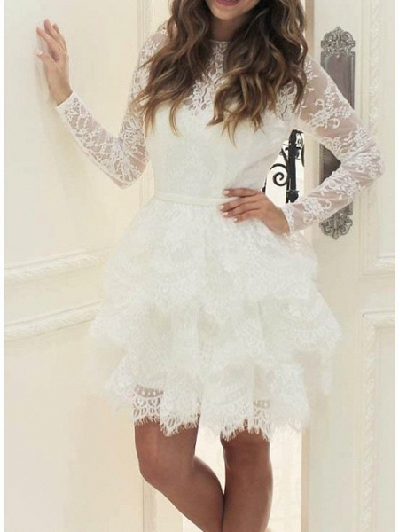 Ball Gown Wedding Dresses Jewel Neck Short \ Mini Lace Tulle Long Sleeve Casual Little White Dress See-Through_2