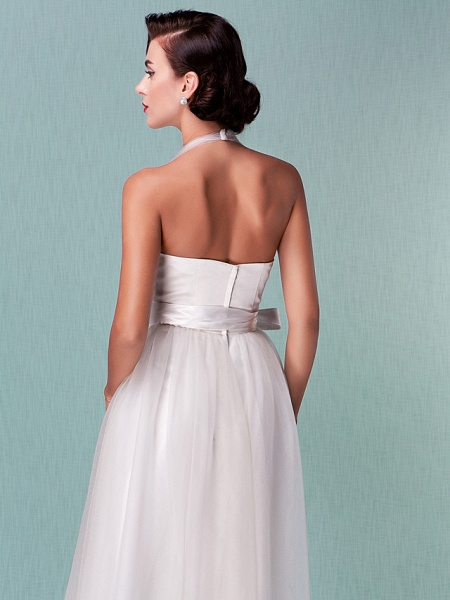 A-Line Wedding Dresses Halter Neck Knee Length Satin Tulle Regular Straps Casual Vintage Little White Dress Plus Size_8