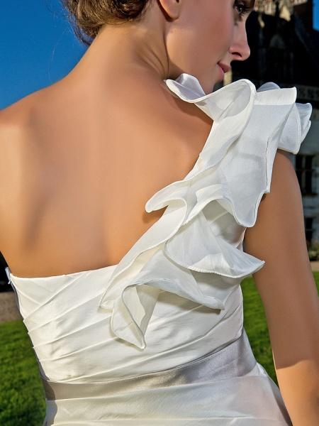 Sheath \ Column Wedding Dresses One Shoulder Asymmetrical Knee Length Taffeta Sleeveless Little White Dress_8
