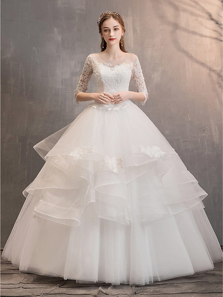 Ball Gown Wedding Dresses Jewel Neck Floor Length Lace Tulle Half Sleeve Glamorous See-Through Backless Illusion Sleeve_14
