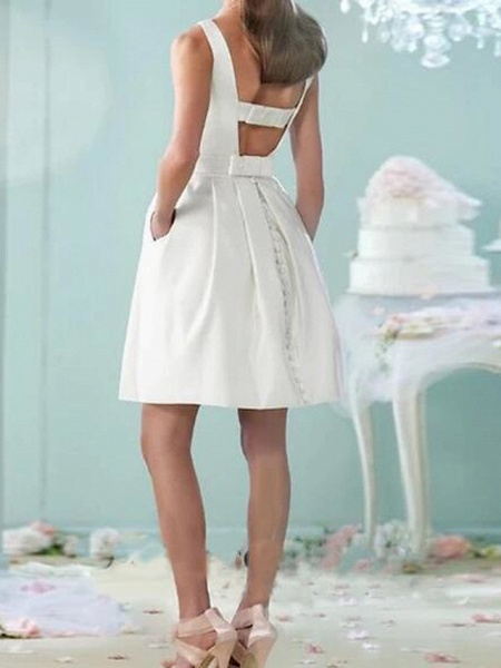 A-Line Wedding Dresses Jewel Neck Knee Length Cotton Sleeveless Vintage Little White Dress_2