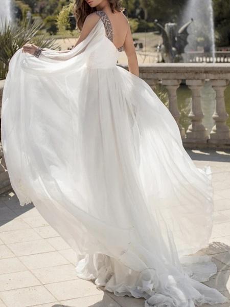 A-Line Wedding Dresses One Shoulder V Neck Sweep \ Brush Train Chiffon Sleeveless Vintage Sexy Wedding Dress in Color_2
