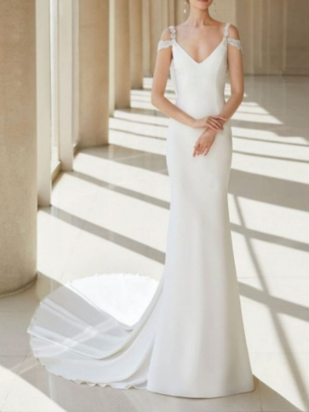 A-Line Wedding Dresses V Neck Court Train Chiffon Lace Regular Straps Formal Plus Size_1
