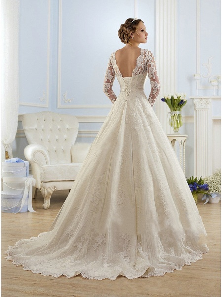 A-Line Wedding Dresses Jewel Neck Court Train Lace Tulle Long Sleeve Formal Sexy_2