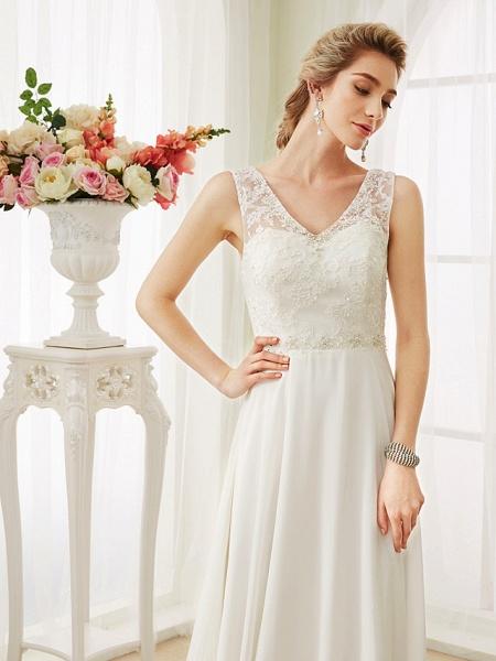 A-Line Wedding Dresses V Neck Court Train Chiffon Lace Bodice Regular Straps Sexy Illusion Detail Backless_6