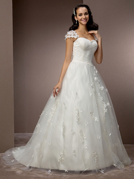 Ball Gown Square Neck Court Train Tulle Short Sleeve Wedding Dresses_2