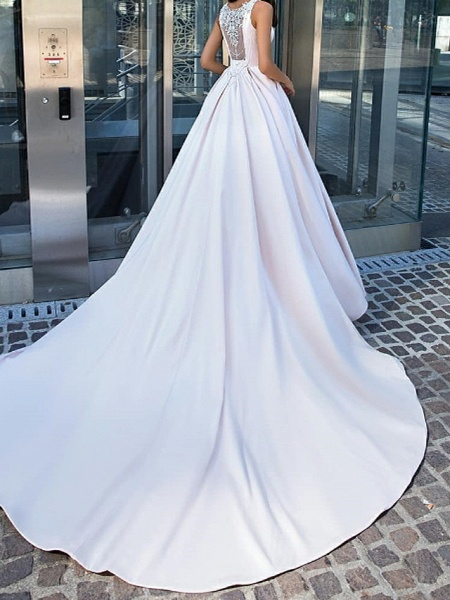 A-Line Wedding Dresses Jewel Neck Sweep \ Brush Train Satin Sleeveless Country Plus Size_2