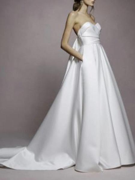 A-Line Wedding Dresses Sweetheart Neckline Sweep \ Brush Train Satin Strapless Simple Plus Size_1