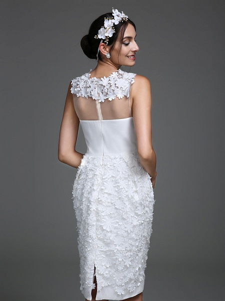 Sheath \ Column Wedding Dresses Jewel Neck Short \ Mini Chiffon Regular Straps Romantic Casual See-Through Plus Size Backless_6