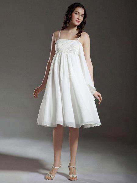 Princess A-Line Wedding Dresses Spaghetti Strap Knee Length Chiffon Sleeveless Little White Dress_1