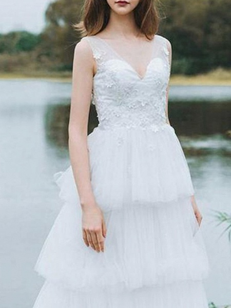 A-Line Wedding Dresses V Neck Floor Length Lace Tulle Sleeveless Country_3