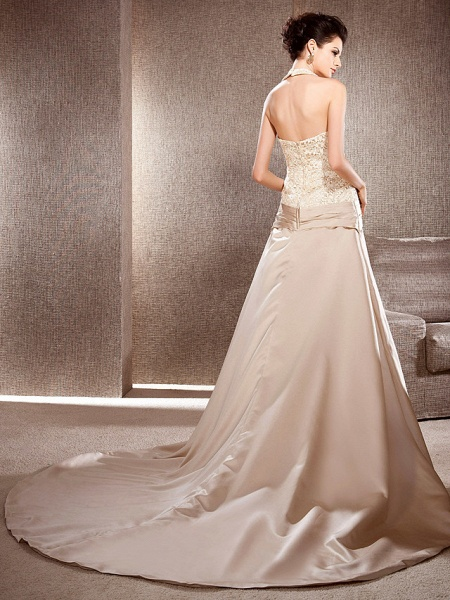 Princess A-Line Wedding Dresses V Neck Chapel Train Lace Satin Sleeveless Wedding Dress in Color_2