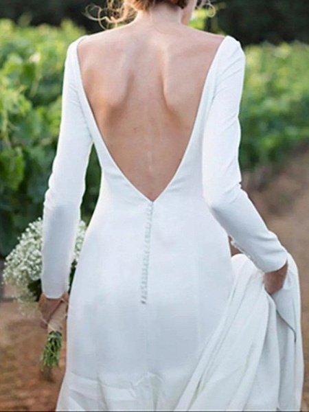 A-Line Wedding Dresses Off Shoulder Sweep \ Brush Train Satin Long Sleeve Formal Plus Size Elegant_2