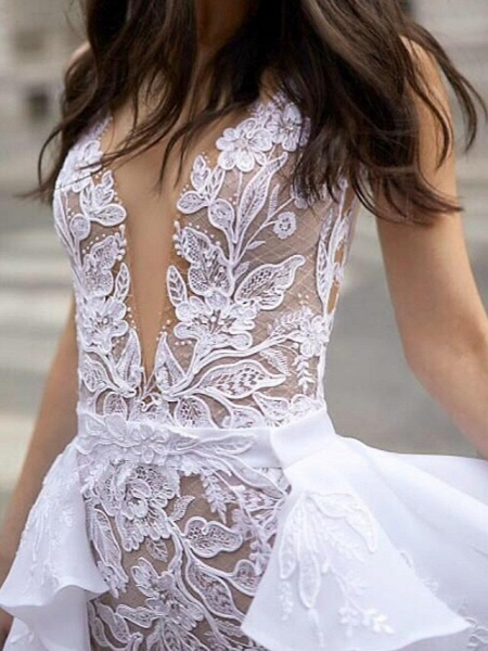 A-Line Wedding Dresses Plunging Neck Sweep \ Brush Train Detachable Lace Tulle Chiffon Over Satin Sleeveless Romantic Sexy See-Through_4