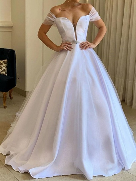 A-Line Wedding Dresses Off Shoulder Sweep \ Brush Train Tulle Polyester Short Sleeve Country Plus Size_1