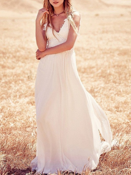 A-Line Wedding Dresses Strapless V Neck Sweep \ Brush Train Chiffon Lace Spaghetti Strap Country Boho Plus Size Backless_1