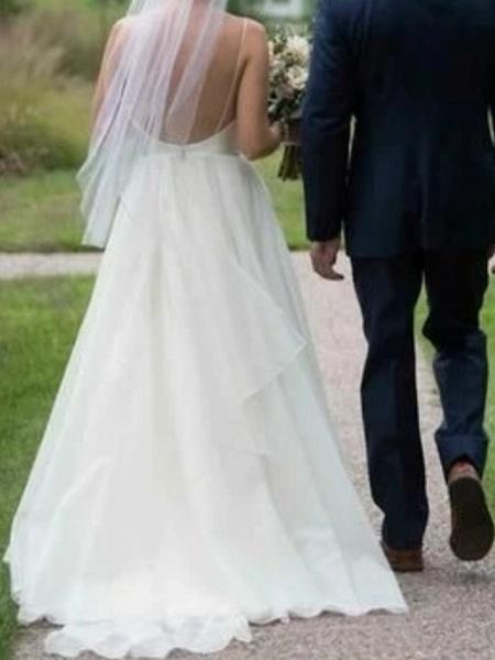 A-Line Wedding Dresses V Neck Floor Length Polyester Sleeveless Formal Plus Size_2