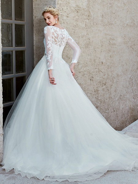 Ball Gown Wedding Dresses Bateau Neck Chapel Train Lace Tulle Long Sleeve Beautiful Back Illusion Sleeve_2