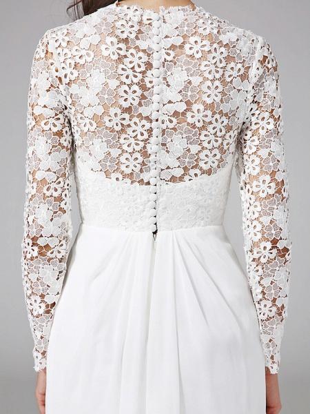 Sheath \ Column Wedding Dresses V Neck Sweep \ Brush Train Chiffon Floral Lace Long Sleeve Romantic Boho Illusion Sleeve_10