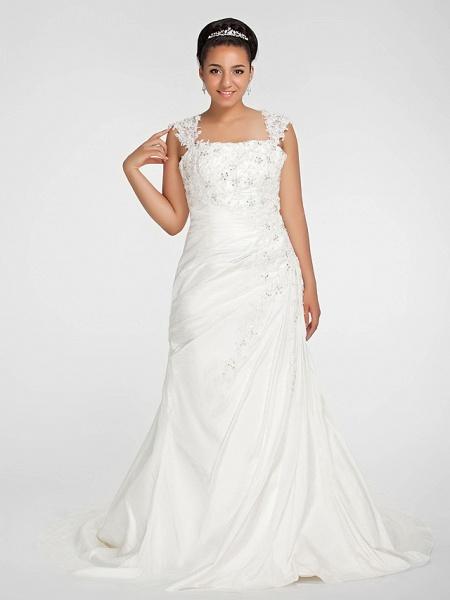 Mermaid \ Trumpet Wedding Dresses Square Neck Court Train Chiffon Regular Straps Vintage Sparkle & Shine Plus Size_1