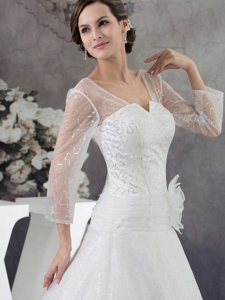 Ball Gown Wedding Dresses V Neck Chapel Train Organza Satin Long Sleeve Illusion Sleeve_4
