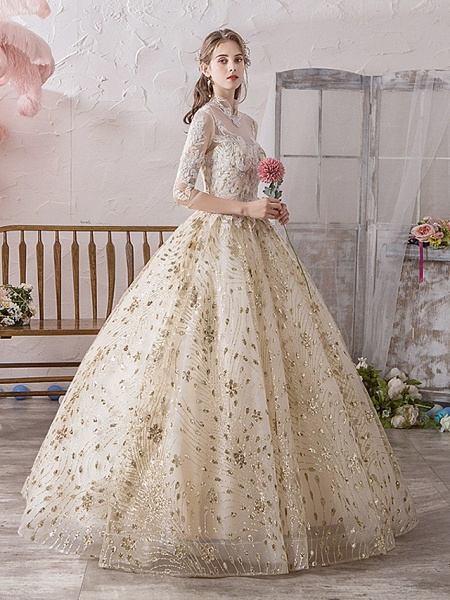 Ball Gown Wedding Dresses Off Shoulder Floor Length Lace Tulle Polyester 3\4 Length Sleeve Country Wedding Dress in Color_2