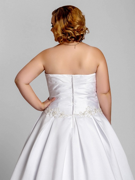 A-Line Wedding Dresses Strapless Court Train Satin Strapless Romantic Illusion Detail_6