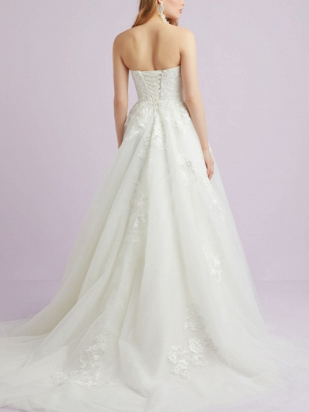 A-Line Wedding Dresses Sweetheart Neckline Court Train Lace Tulle Strapless Romantic Backless_2