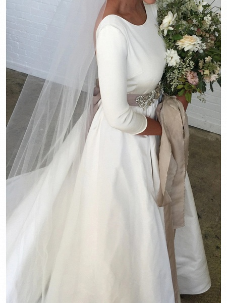 A-Line Wedding Dresses Jewel Neck Sweep \ Brush Train Polyester 3\4 Length Sleeve Formal Plus Size Elegant_3
