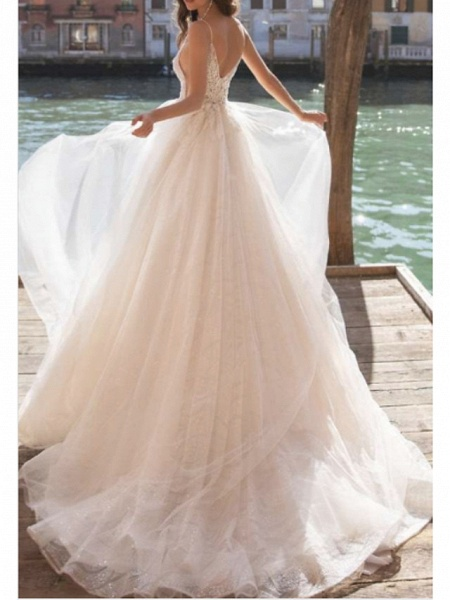 A-Line Wedding Dresses V Neck Court Train Tulle Charmeuse Spaghetti Strap Boho See-Through_2