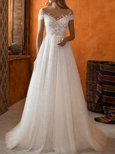 A-Line Jewel Neck Sweep \ Brush Train Lace Tulle Short Sleeve Country Wedding Dresses_1