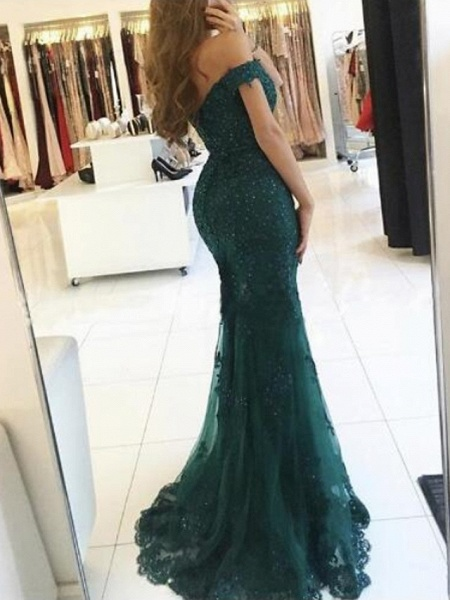 Mermaid \ Trumpet Sparkle Red Prom Formal Evening Dress Off Shoulder Short Sleeve Sweep \ Brush Train Lace_3