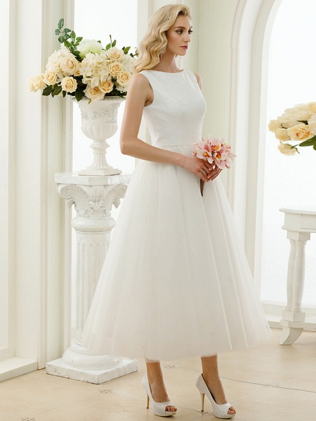 A-Line Wedding Dresses Bateau Neck Tea Length Tulle Sequined Regular Straps Simple Little White Dress_6